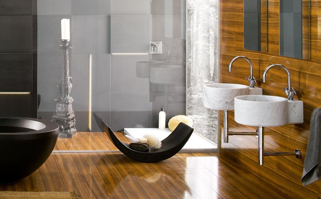 Lavabi a parete Ego, marmo Bianco Carrara