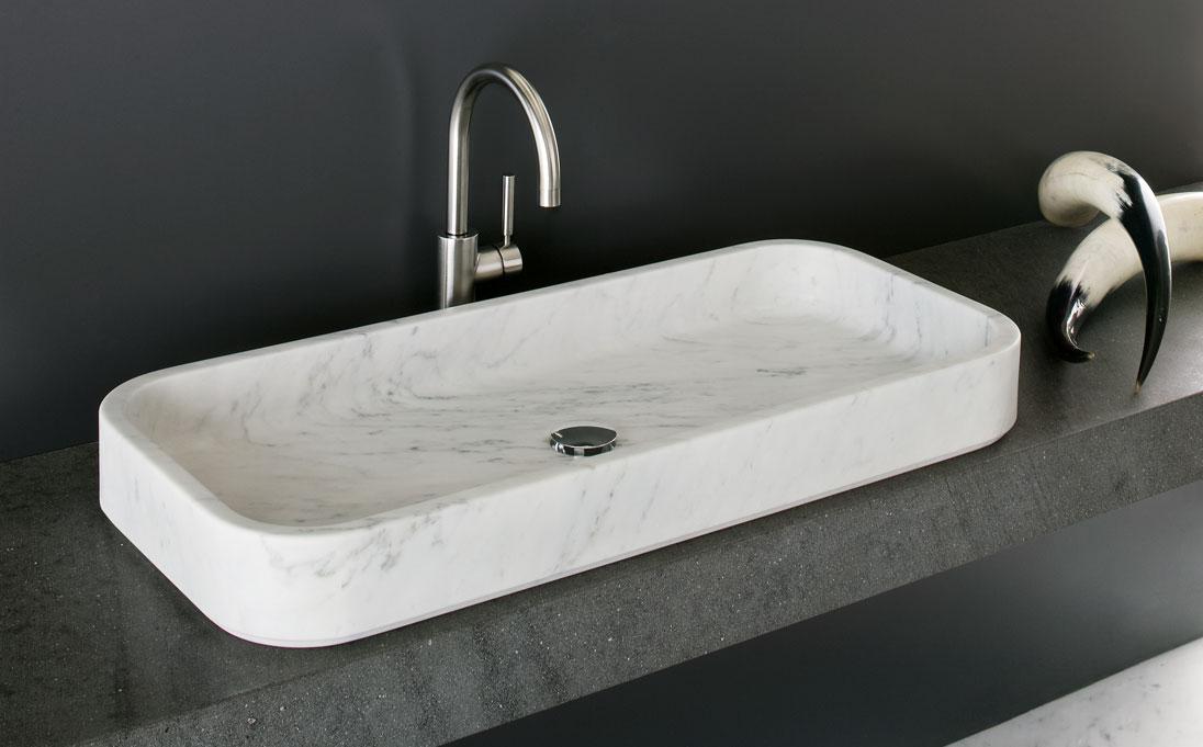 Lavabo d'appoggio Nest, marmo Bianco Carrara