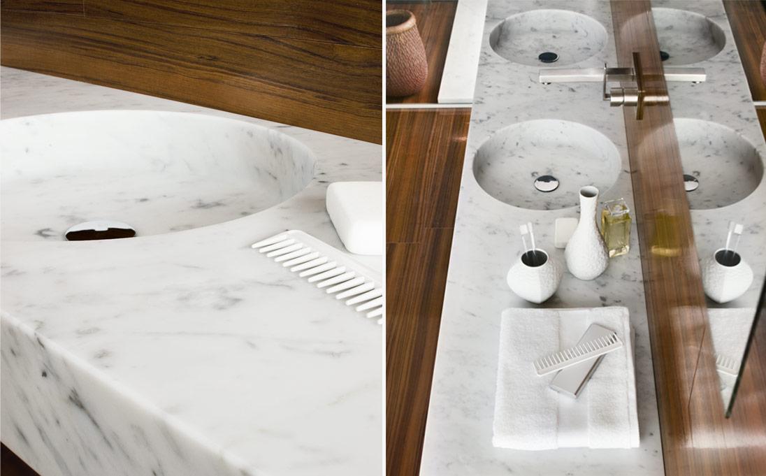 Lavabo a parete Round Tailor, marmo Bianco Carrara