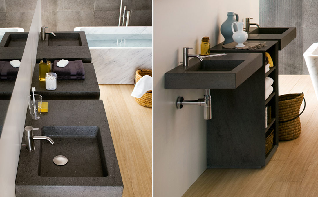 Square wall mounted wash-basins, Basaltina stone