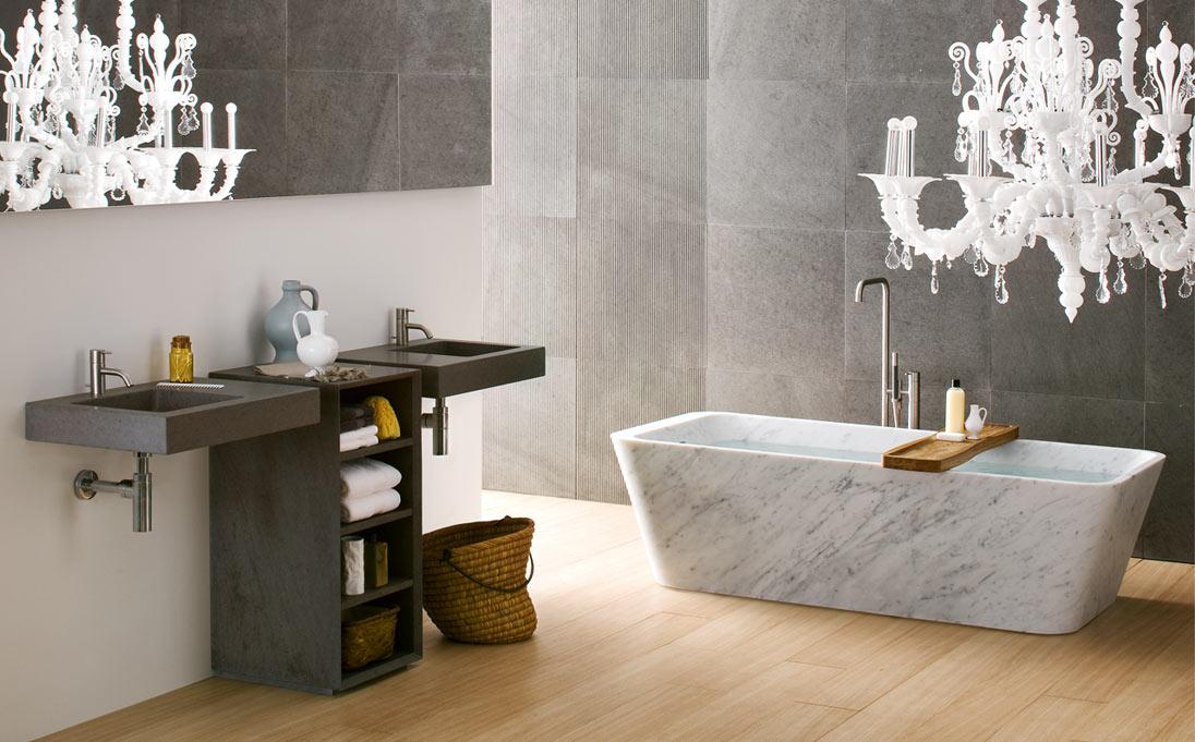 Vasca Duo, marmo Bianco Carrara