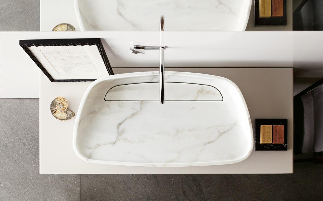 Lavabo d'appoggio Inkstone, marmo Star Gold