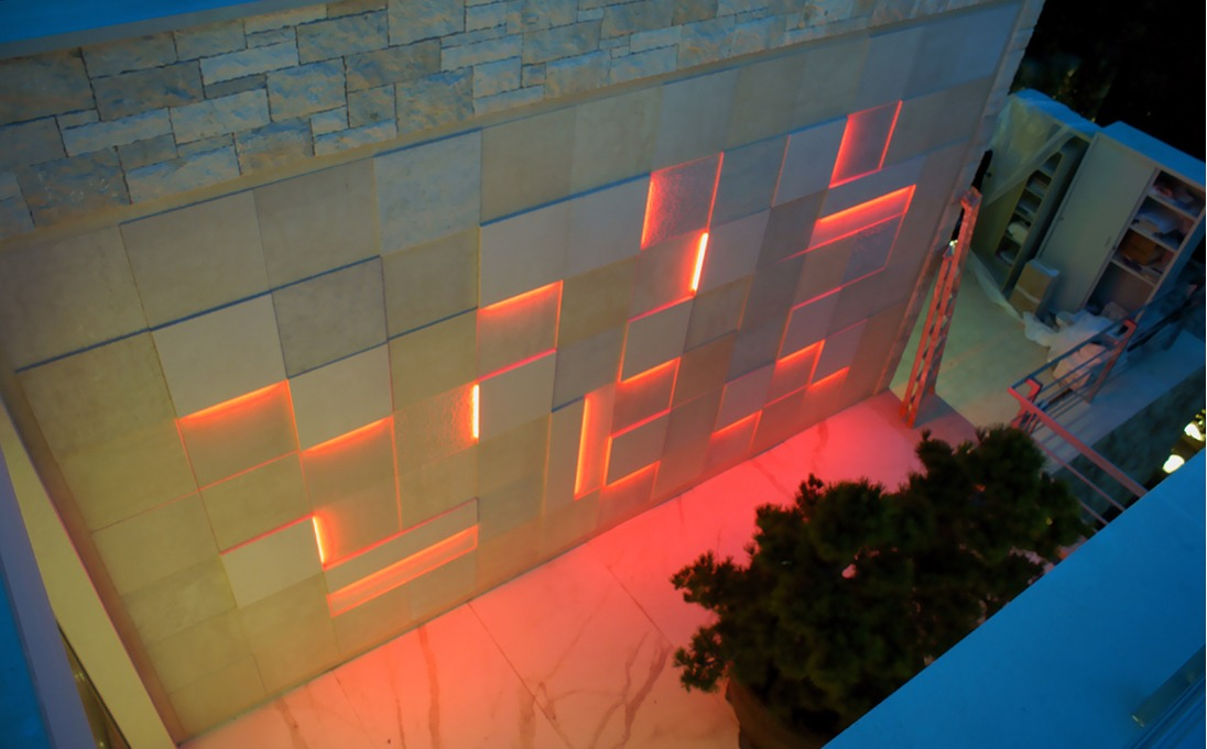 marmo Botticino con led RGB