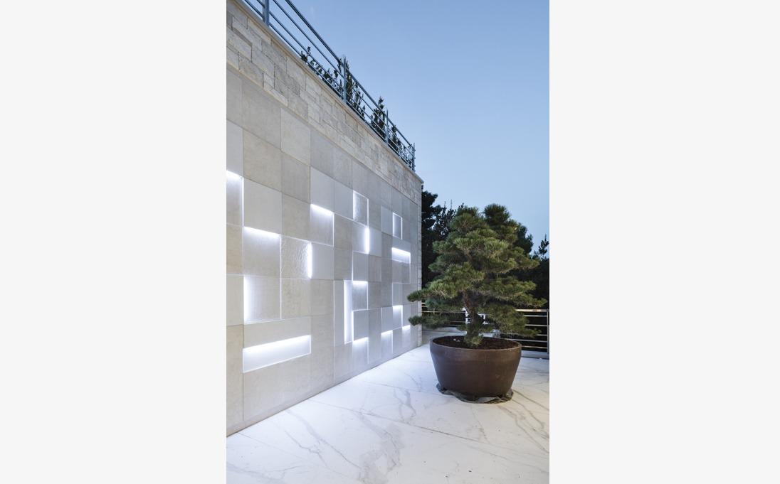 parete esterna marmo Botticino
